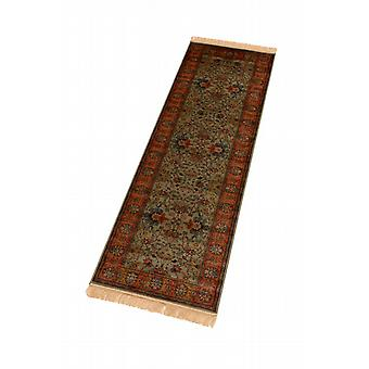 Green Indian Agra Artificial Faux Silk Effect Hall Runner Rugs 4620/16