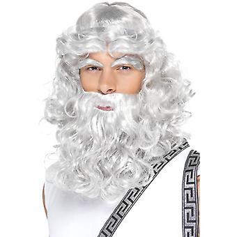 Grigio lungo parrucca, parrucca di Zeus con barba e sopracciglia, antica Grecia