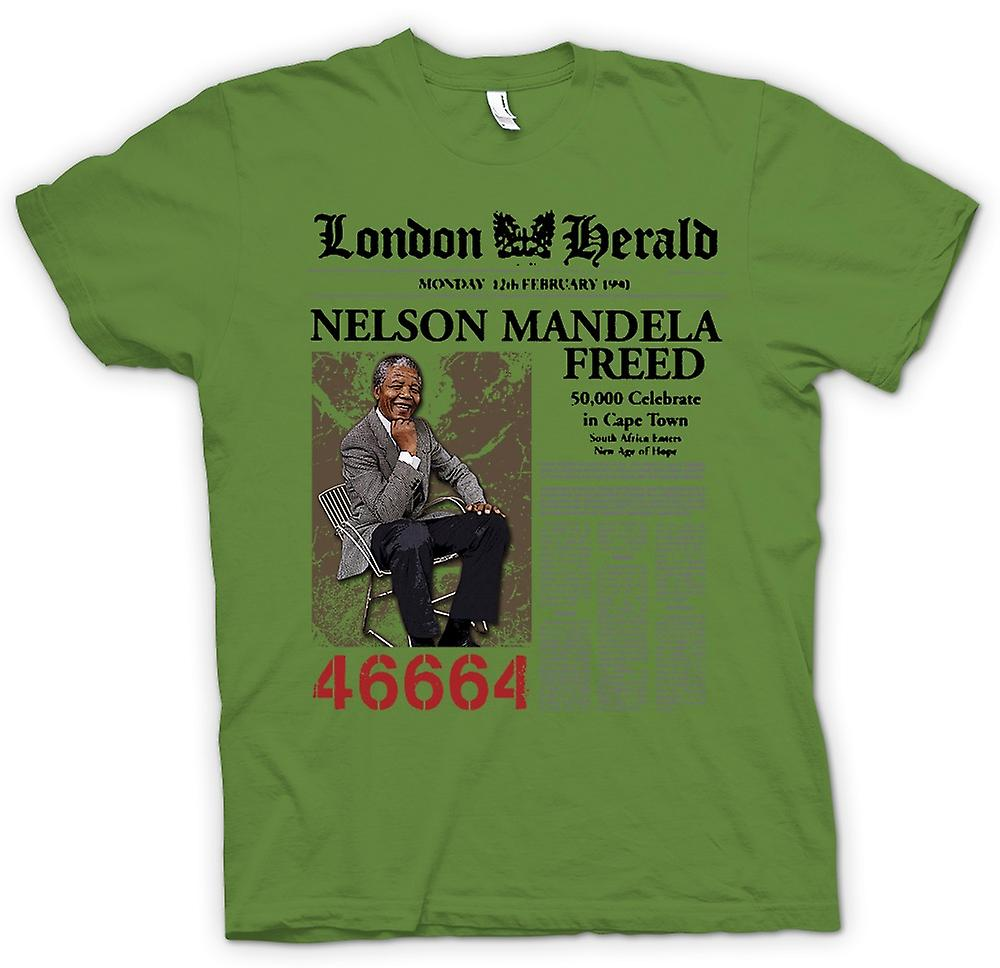 T-shirt Mens - Nelson Mandela Freed 46664 - ANC - Freedom