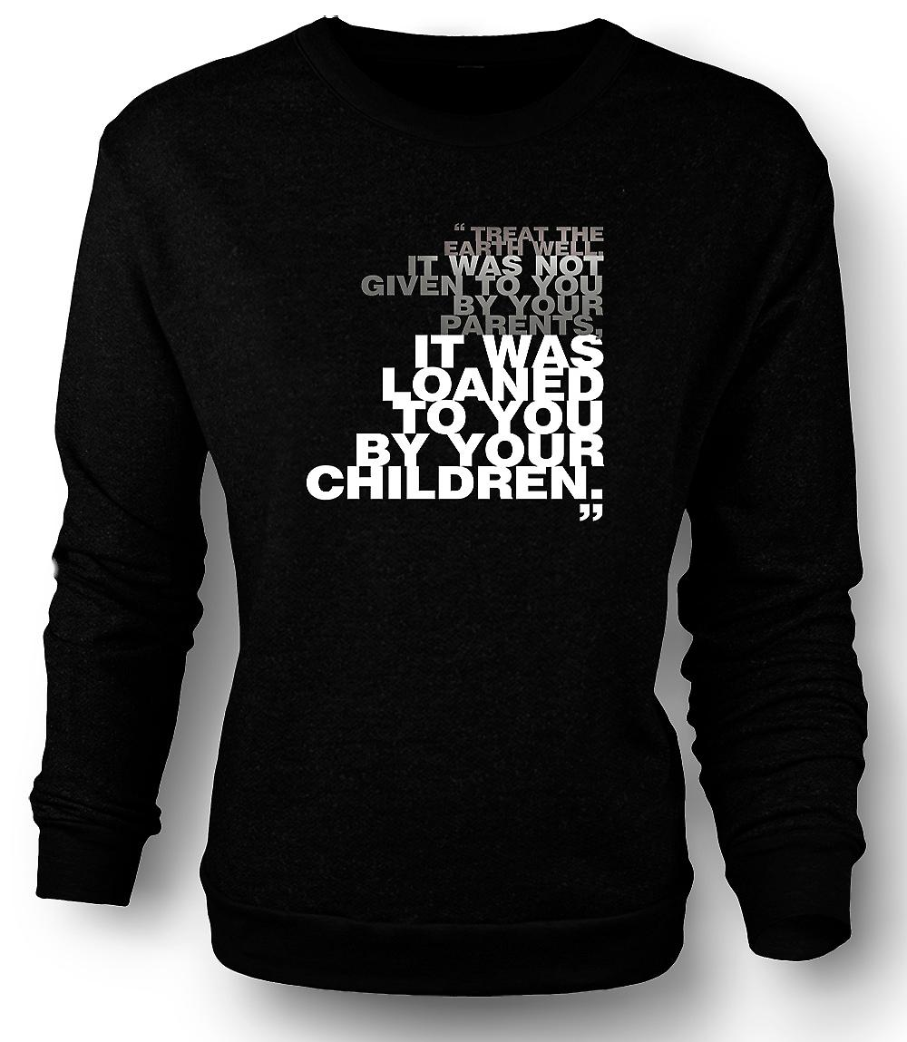 Mens Sweatshirt Green Conservation - Treat Earth Well