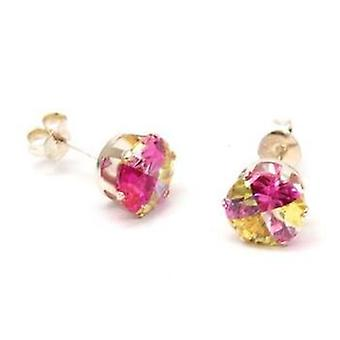 Toc Sterling Silver Round Pink and Amber Solitaire Stud Earrings