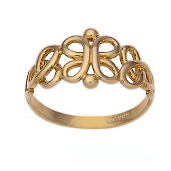9ct Gold 10mm keltischen Stil Damen Kleid Ring Größe J