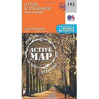 OS Explorer Map Active (193) Luton and Stevenage (OS Explorer Active Map)