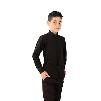 Boys Linen Black Roll Up Sleeve Shirt