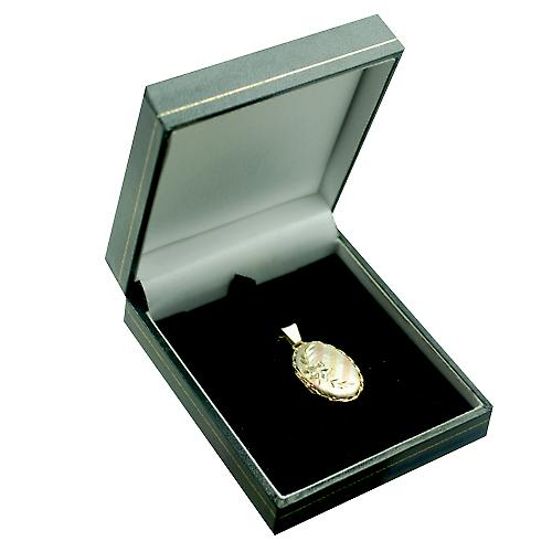 9ct 3 Colour Gold 23x16mm diamond cut oval Locket