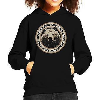 Keep Your Head Up High Bear Badge Kid's Hooded Sweatshirt