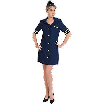 Womens sexy Blue Air hôtesse Flight attendant uniforme Déguisements costume