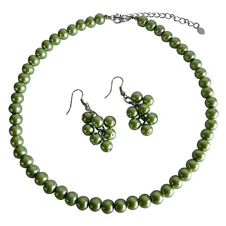 Pearl Jewelry Set Beautiful Green Pearls Unique & Sleek Pearl Necklace Set