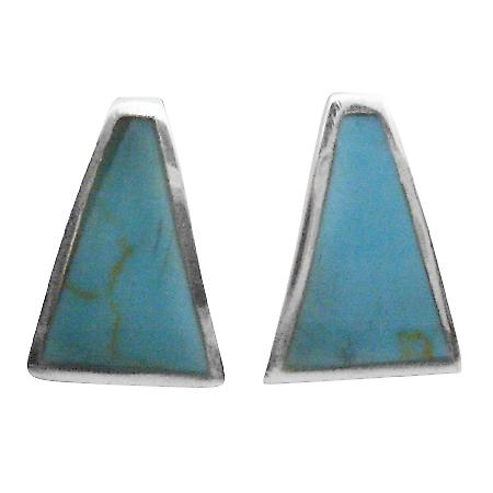 Sexy Stunning Turquoise Earrings Silver 925 Inlaid Turquoise Earrings