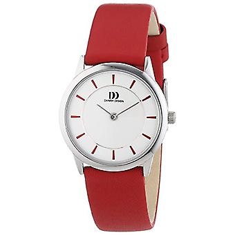 Danish Design 3324547-Frauen-Quarz-Uhr mit Leder Armband rot-weißen analogen Zifferblatt
