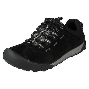 Ladies Clarks Outdoor Trainers Outlay West Black Suede Size 3.5D