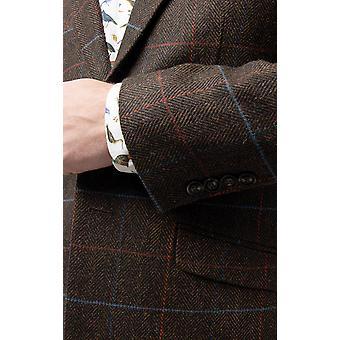 Dobell Mens bruin Tweed jas Fit Regular Notch revers Windowpane Check