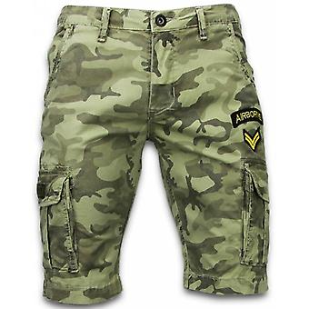 Men's short trousers-Slim Fit Army Stitched Shorts-Green