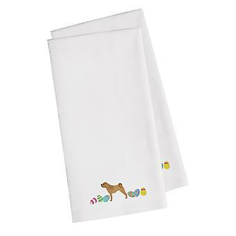 Shar Pei Easter White Embroidered Kitchen Towel Set of 2