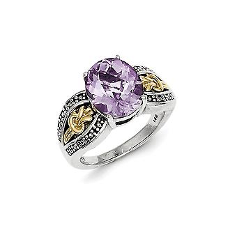 925 Sterling Silver Polished Prong ensemble Antique finition avec 14k 3.3Pink Amethyst Ring - Ring Size: 6 à 8