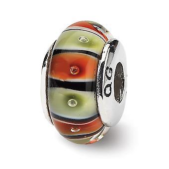 925 Sterling Silber poliert Antike Finish Reflexionen rot gelb Murano Glas Perle Charme
