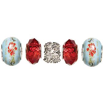Trinkettes Glass & Metal Beads 5 Pkg Red Crystal T346gmb5 99030
