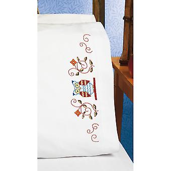 Owl Pillowcase Pair Stamped Cross Stitch 20