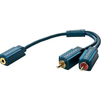 Jack / RCA Audio/phono Y adapter [1x Jack socket 3.5 mm - 2x RCA plug (phono)] Blue clicktronic