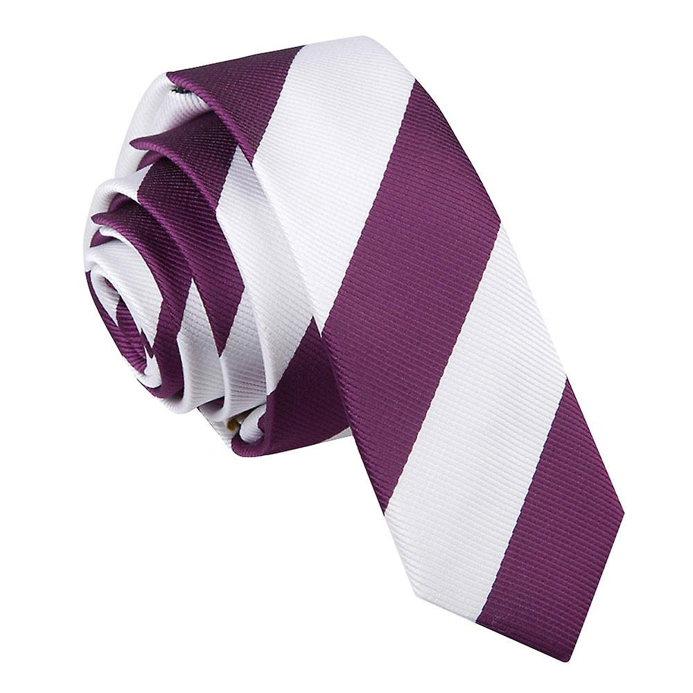 Striped Purple & White Skinny Tie