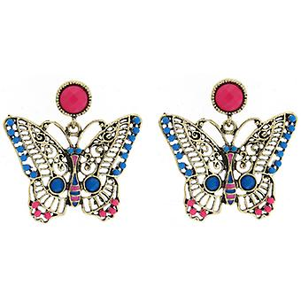 Vintage Gold Blue & Pink Bead Butterfly Drop Earrings