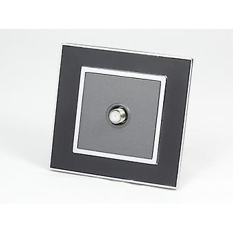 I LumoS AS Luxury Black Mirror Glass Single Satellite Socket
