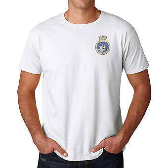 HMS Mermaid Embroidered Logo - Official Royal Navy Ringspun Cotton T Shirt