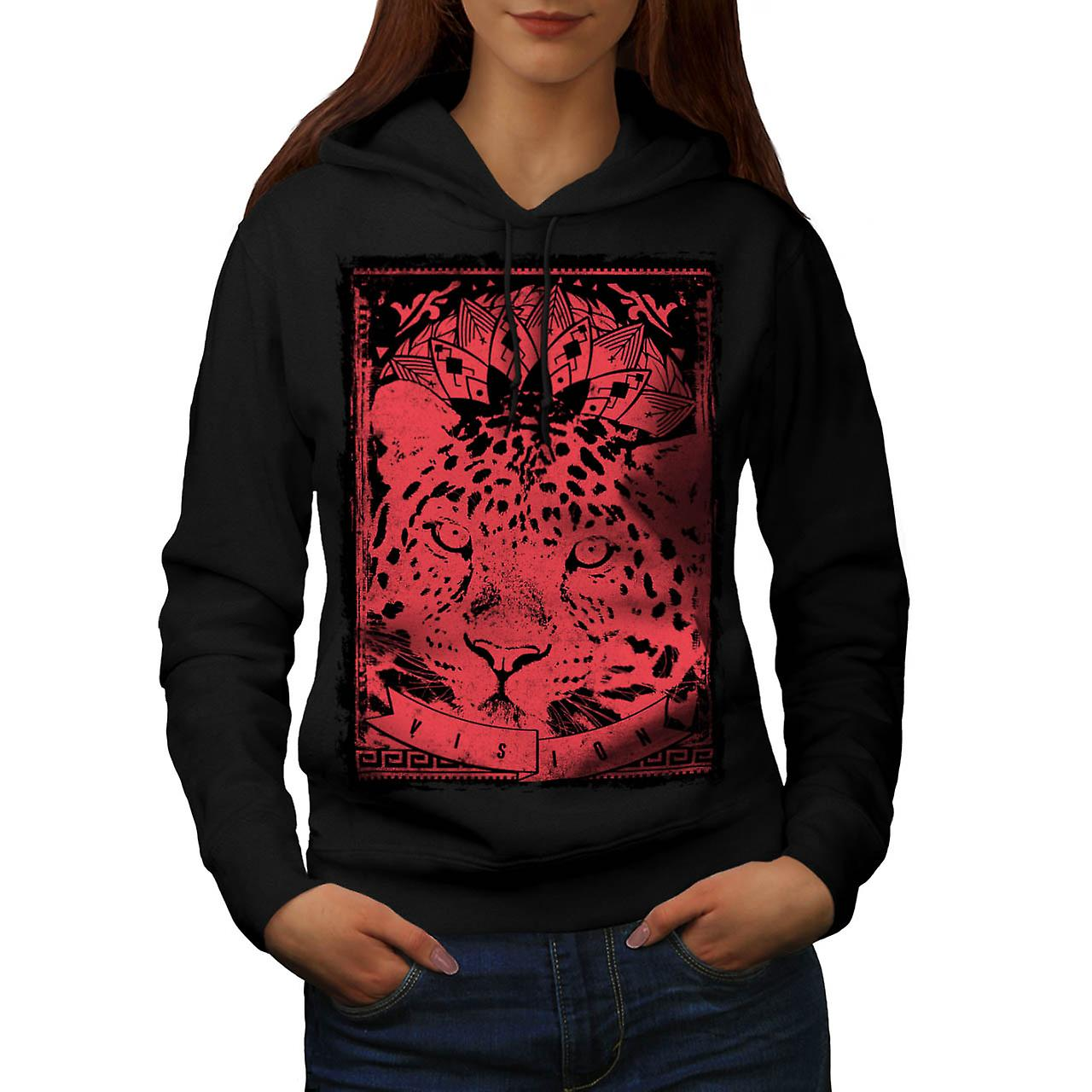 Leopard Cat Vision Angry Animal Women Black Hoodie | Wellcoda