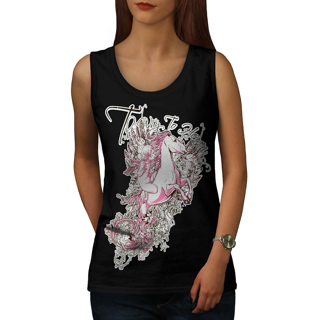 Way To Heaven Myth Unicorn Soul Women Black Tank Top | Wellcoda