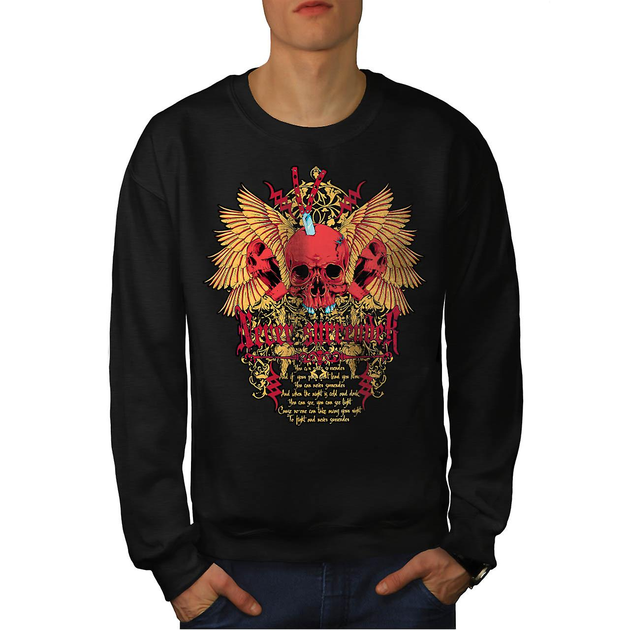 Never Surrender Skull Curse Head Men Black Sweatshirt | Wellcoda
