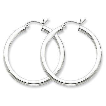 Sterling Silver Polished Hinged post Rhodium-plated 3mm Round Hoop Earrings - 3.5 Grams