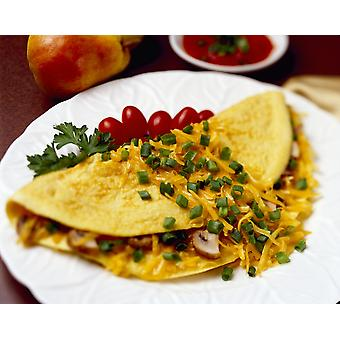 Food - Cheese and Mushroom Omelette garnished with chopped green onions (scallions) and pear tomatoes PosterPrint