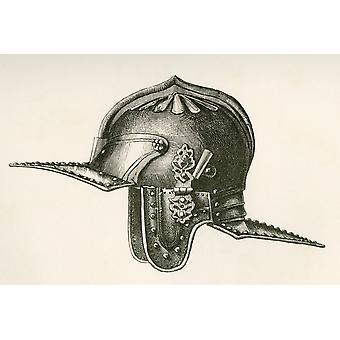 1600-tallet hjelm sies å ha tilhørt Oliver Cromwell fra den britiske hæren fremdriften opprinnelse og utstyr publisert 1868 PosterPrint