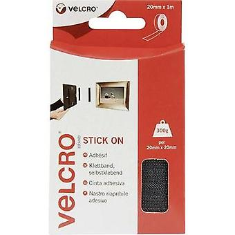 Hook-and-loop tape stick-on Hook and loop pad (L x W) 1000 mm x 20 mm Black VELCRO® brand VEL-EC60211 1 m