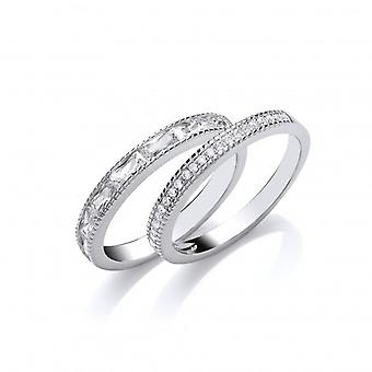Cavendish French Silver and CZ  Double Band Ring