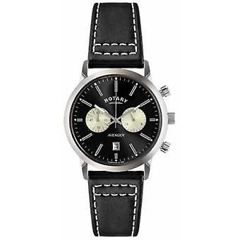 Rotary Mens Avenger Black Leather Strap Chrono GS02730/04 Watch