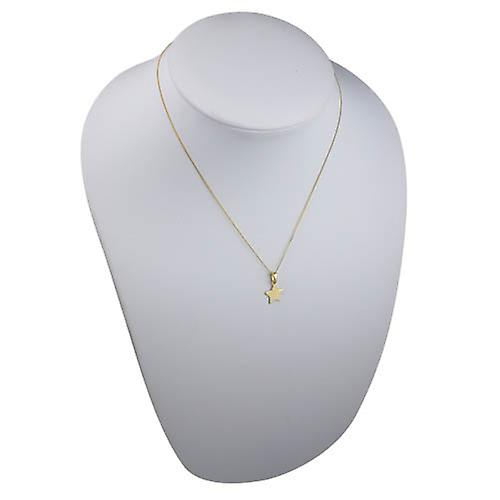 9ct Gold 11x12mm plain Star Pendant with bail loop and a curb Chain 16 inches Only Suitable for Children