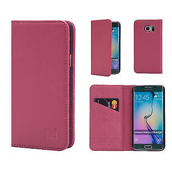 32nd klassiska äkta läder plånbok för Samsung Galaxy S6 Edge G925 - rosa