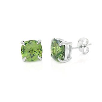 925 sterling silver Stud Earrings - OLIVE 8 mm