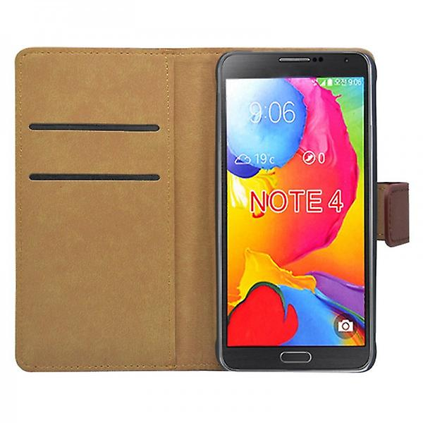 Wallet Deluxe bag Brown for Samsung Galaxy touch 4 N910 SM-N910F