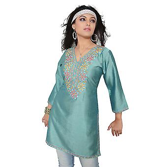 Island Green 3/4-sleeve Kurti/ Tunic with Designer Embroidery (India)