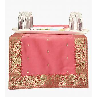 Pink - hånd udformet bordløber (Indien)