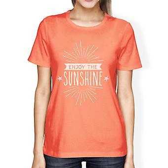 Enjoy The Sunshine Womens Peach Short Sleeve Lightweight Summer Tee