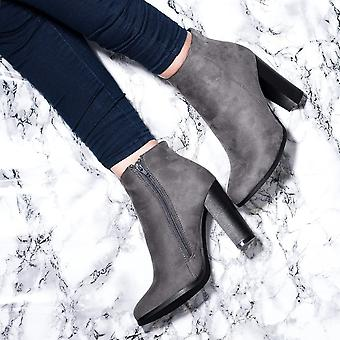 Spylovebuy THORA Block Heel Ankle Boots Shoes - Grey Suede Style