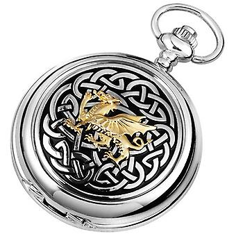 Woodford Celtic Dragon Chrome Plated Full Hunter Quartz Pocket Watch - Silver/Gold/Black
