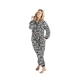 Camille Black And White Zebra Print Hooded All In One Pyjama Onesie