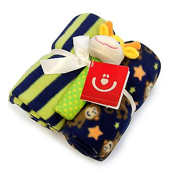 BlueberryShop 2x Fleece Blanket + Soft Squeaky Toy Gift Set Newborn Baby Shower Present