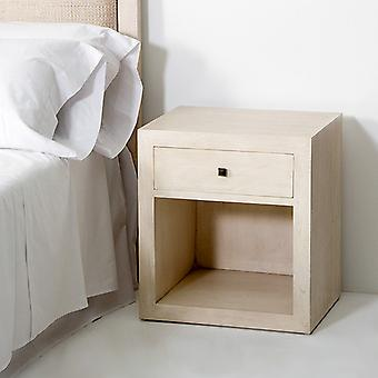 Wellindal Night Table 50x40x55 Veiled White Wood (Furniture , Bedroom , Bedside tables)