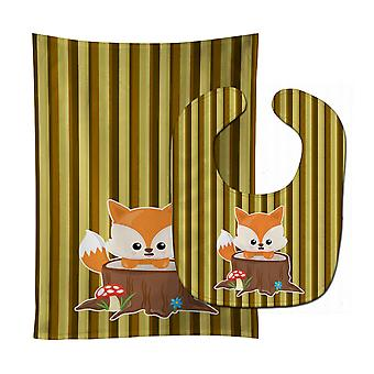Carolines Treasures  BB7088STBU Baby Fox Tree Stripes Baby Bib & Burp Cloth