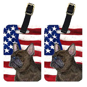 Pair of USA American Flag with French Bulldog Luggage Tags